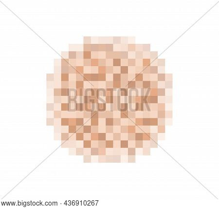 Censor Blur Effect Texture For Face Or Nude Skin. Blurry Pixel Color Censorship Circle. Vector Illus