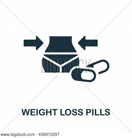 Weight Loss Pills Icon. Monochrome Sign From Diet Collection. Creative Weight Loss Pills Icon Illust