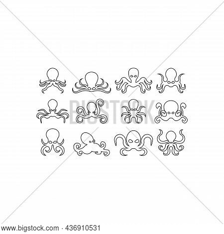 Set Of Seafood Octopus Icons,octopus Line Icon Isolated On White Background.