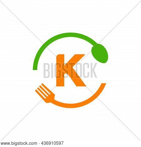 Restaurant Logo Design On Letter K With Spoon And Fork Concept Template. Kitchen Tools, Food Icon. C