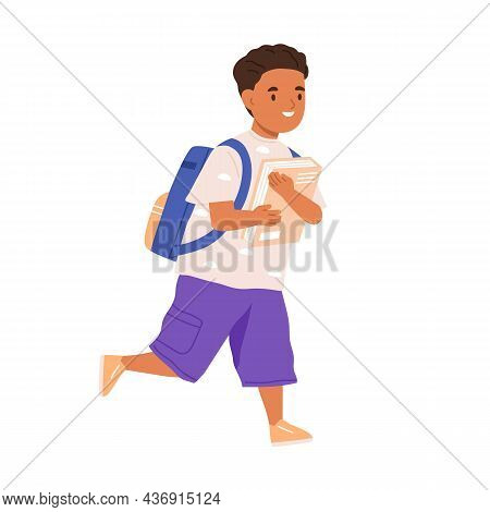 Child Going To School With Schoolbag And Book In Hands. Elementary Student Boy Walking With Bag. Hap
