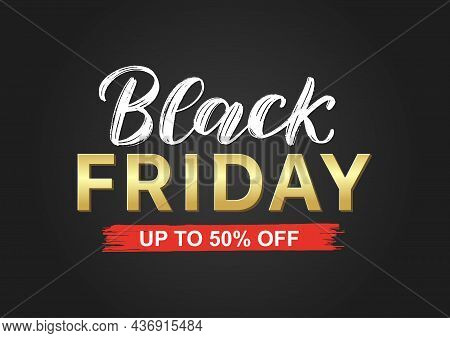 Black Friday Typography Banner In Black, Gold, And Red Colors. Typography Black Friday Poster As Pro