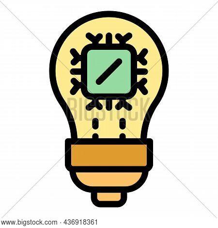 Ai Smart Bulb Icon. Outline Ai Smart Bulb Vector Icon Color Flat Isolated