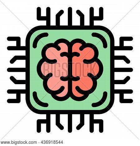 Ai Brain Processor Icon. Outline Ai Brain Processor Vector Icon Color Flat Isolated