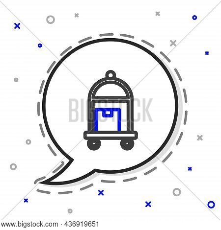Line Hotel Luggage Cart With Suitcase Icon Isolated On White Background. Traveling Baggage Sign. Tra