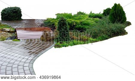 Detail of a botanical garden isolated on white background. Garden stone path with grass growing up between the stones.