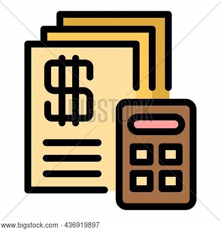 Tax Calculator Icon. Outline Tax Calculator Vector Icon Color Flat Isolated