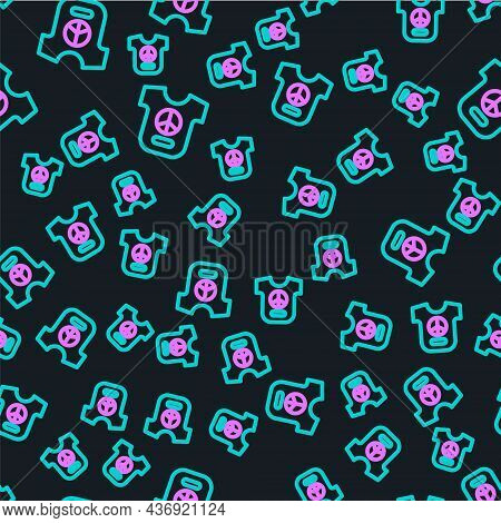 Line Peace Icon Isolated Seamless Pattern On Black Background. Hippie Symbol Of Peace. Vector