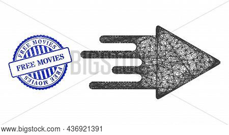 Vector Net Mesh Quick Arrow Frame, And Free Movies Blue Rosette Dirty Stamp Seal. Hatched Frame Net