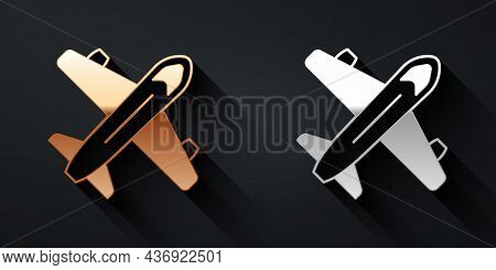 Gold And Silver Plane Icon Isolated On Black Background. Flying Airplane Icon. Airliner Sign. Long S