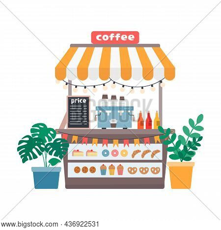 Coffee Stall, Street Shop With Hot Drinks And Sweet Pastries, Vector Illustration In Flat Style On W