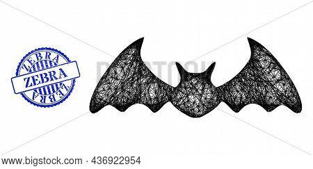 Vector Crossing Mesh Bat Mouse Carcass, And Zebra Blue Rosette Grunge Seal Imitation. Wire Carcass N