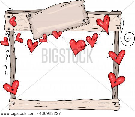Scalable Vectorial Representing A Rustic Wooden Frame With Red Hearts, Element For Design, Illustrat