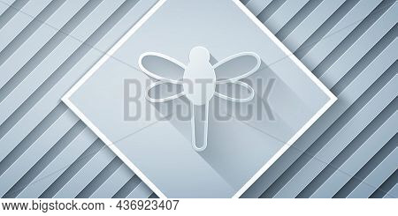 Paper Cut Dragonfly Icon Isolated On Grey Background. Paper Art Style. Vector