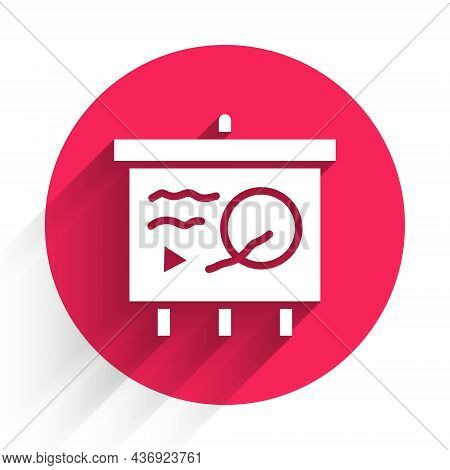 White Scenario On Chalkboard Icon Isolated With Long Shadow. Script Reading Concept For Art Project,