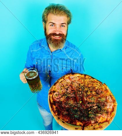 Pizzeria Or Restaurant. Bearded Man With Pizza And Beer. Delicious Fast Food Meal. Italian Cuisine C