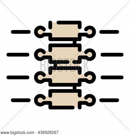 Vertebral Column Icon. Outline Vertebral Column Vector Icon Color Flat Isolated