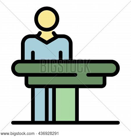 Masseur At The Massage Table Icon. Outline Masseur At The Massage Table Vector Icon Color Flat Isola