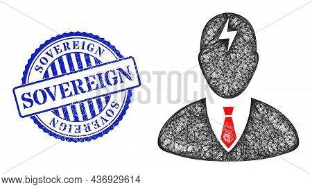 Vector Network Boss Headache Frame, And Sovereign Blue Rosette Grunge Stamp Seal. Linear Frame Netwo