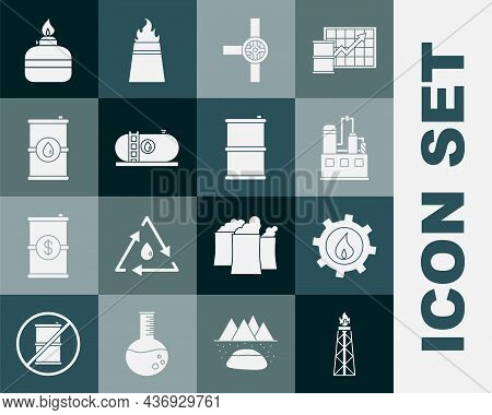 Set Oil Rig With Fire, Industrial Factory Building, Industry Pipes And Valve, Barrel Oil, Alcohol Sp