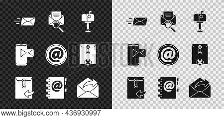 Set Express Envelope, Envelope With Magnifying Glass, Mail Box, Address Book, Outgoing Mail, Mobile