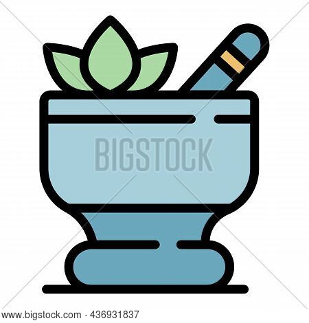 Herbal Spa Procedure Icon. Outline Herbal Spa Procedure Vector Icon Color Flat Isolated