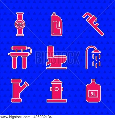 Set Toilet Bowl, Fire Hydrant, Big Bottle With Clean Water, Shower, Industry Metallic Pipe, Water Fi