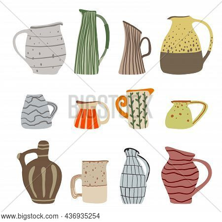 A Set Of Pottery For Decoration And Decoration. Design Elements For Kitchen Utensils And Household A