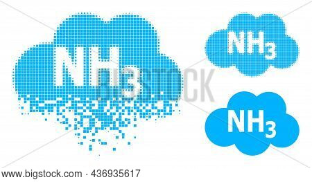 Dispersed Pixelated Ammoniac Cloud Icon With Halftone Version. Vector Destruction Effect For Ammonia