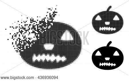 Disappearing Pixelated Halloween Pumpkin Icon With Halftone Version. Vector Destruction Effect For H