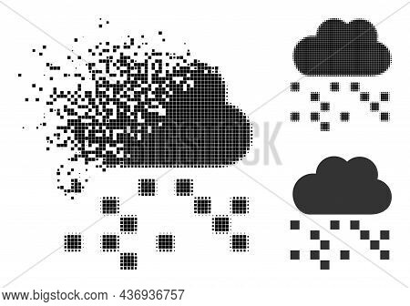 Destructed Pixelated Digital Cloud Icon With Halftone Version. Vector Destruction Effect For Digital