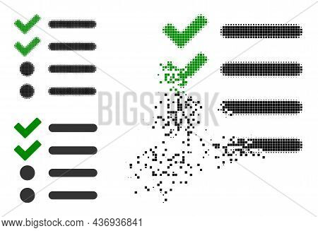 Dispersed Dot Check List Icon With Halftone Version. Vector Wind Effect For Check List Icon. Pixel D