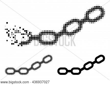 Destructed Pixelated Chain Pictogram With Halftone Version. Vector Destruction Effect For Chain Pict