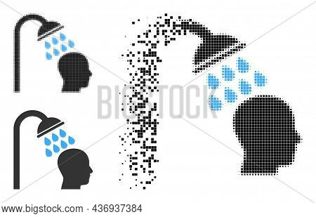 Burst Pixelated Head Shower Glyph With Halftone Version. Vector Wind Effect For Head Shower Icon. Pi