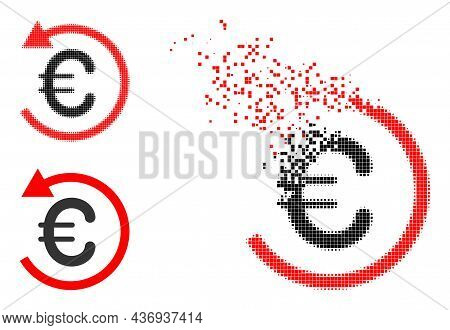 Disintegrating Pixelated Euro Refund Icon With Halftone Version. Vector Destruction Effect For Euro