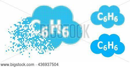 Disintegrating Pixelated Benzene Cloud Pictogram With Halftone Version. Vector Destruction Effect Fo