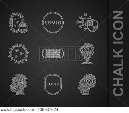 Set Medical Protective Mask, Shield Protecting From Virus, Corona Covid-19, 2019-ncov Location, Face