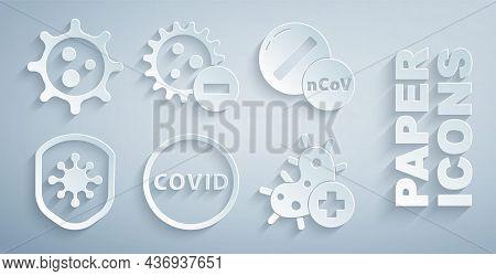 Set Corona Virus Covid-19, Medicine Pill Tablet, Shield Protecting From, Positive, Negative And Viru