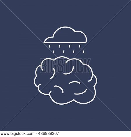 Psychological Problems Line Icon Concept. Human Brain With Cloud And Rain Outline Stroke Element. Ps