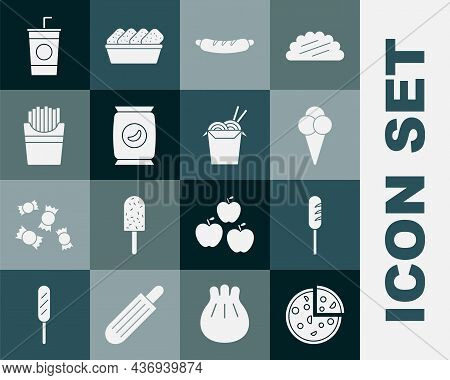 Set Pizza, Fried Sausage, Ice Cream In Waffle Cone, Hotdog Sandwich, Bag Or Packet Potato Chips, Pot
