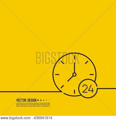 Vector Icon With Clock, Dial And Number 24. Isolated Illustration On Yellow Background.