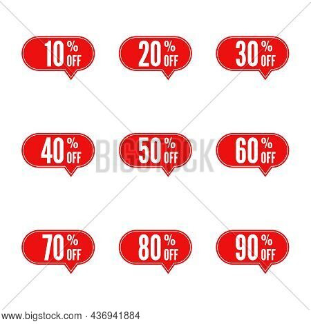 Set Of Sale And Discount Speech Bubble. Price Off Tag Icon. 10, 20, 30, 40, 50, 60, 70, 80, 90 Perce