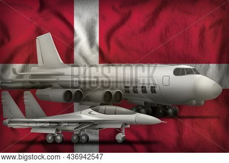 Air Forces On The Denmark Flag Background. Denmark Air Forces Concept. 3d Illustration