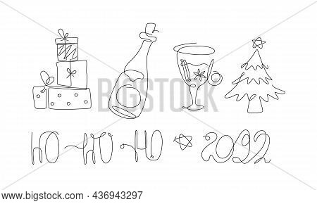 Merry Christmas Set One Line Set. New Year Elements Line Art. X-mas Collection With Christmas Tree A