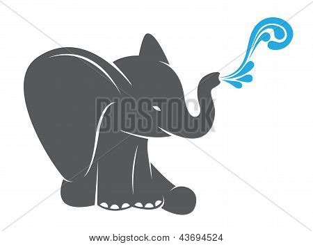 Vector image of an elephant spraying water on a white background poster