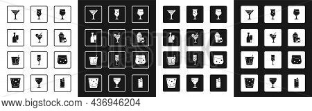 Set Wine Glass, Cocktail, Bottle With, Martini, Shaker, Glass Of Beer, Whiskey And Bloody Mary Icon.