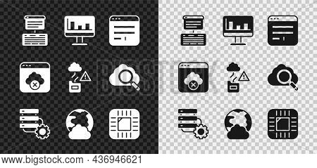 Set Server, Data, Web Hosting, Monitor With Graph Chart, Browser Window, And Gear, Social Network, P
