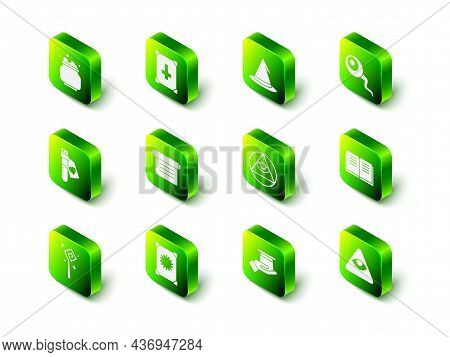 Set Ancient Magic Book, Witch Hat, Eye, Masons, Magician In Hand And Icon. Vector