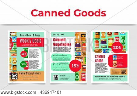 Canned Goods Soups Poster Set Vector Flat Illustration. Canning Package Tinned Steel Lid Online Shop