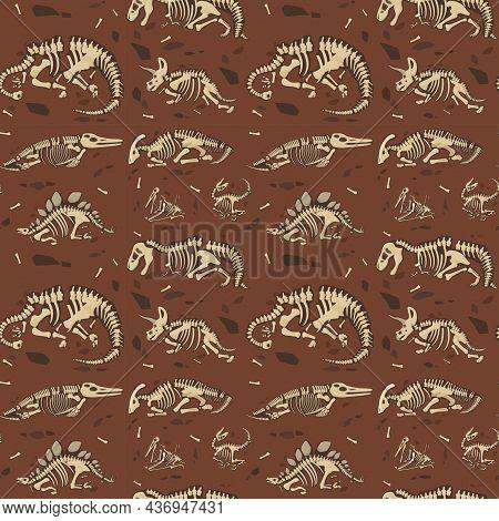 Dinosaur Skeleton Fossil Seamless Pattern Vector Flat Illustration. Prehistoric Predator Animals